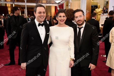 Ido Ostrowsky, from left, Nora Grossman and Teddy Schwarzman arrive at the Oscars, at the Dolby Theatre in Los Angeles