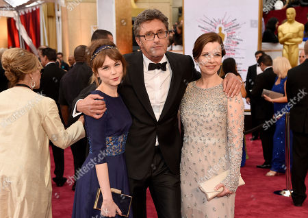 Agata Trzebuchowska, and from left, Pawel Pawlikowski and Agata Kulesza arrive at the Oscars, at the Dolby Theatre in Los Angeles