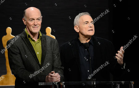 Producers Neil Meron, left and Craig Zadan attend the 87th Academy Awards nomination ceremony on in Beverly Hills, Calif. The 87th Annual Academy Awards will take place on Sunday, Feb. 22, 2015 at the Dolby Theatre in Los Angeles
