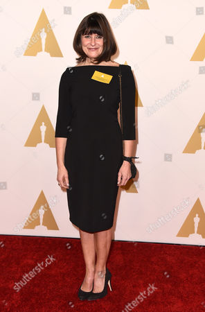 Maria Djurkovic arrives at the 87th Academy Awards nominees luncheon at the Beverly Hilton Hotel, in Beverly Hills, Calif