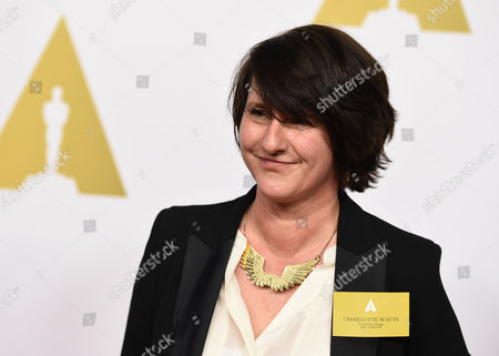Charlotte Watts arrives at the 87th Academy Awards nominees luncheon at the Beverly Hilton Hotel, in Beverly Hills, Calif