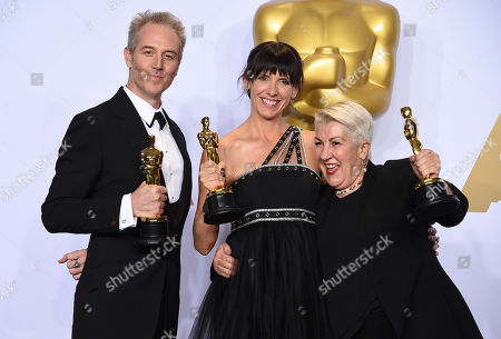 Damian Martin, from left, Lesley Vanderwalt and Elka Wardega pose with the award for best makeup and hairstyling for â?oeMad Max: Fury Roadâ?? at the Oscars, at the Dolby Theatre in Los Angeles