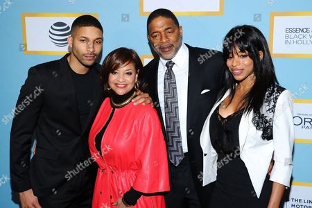 Actress, dancer and honoree Debbie Allen, second left, and family Norman Nixon Jr., from left, Norm Nixon Sr., and Vivian Nixon attend the Essence 9th Annual Black Women in Hollywood Luncheon at the Beverly Wilshire Hotel, in Beverly Hills, Calif