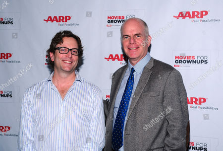 Director David Dobkin, left, and Movies for Grownups host Bill Newcott arrive at the AARP Movies for Grownups Film Showcase at Regal Cinemas L.A. LIVE on in Los Angeles