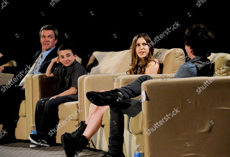 """MARCH 26: (L-R) Actors Neil Flynn, Atticus Shaffer, Eden Sher and Charlie McDermott participate in the Academy of Television Arts & Sciences Presents an Evening with """"The Middle"""" panel on in North Hollywood, California"""