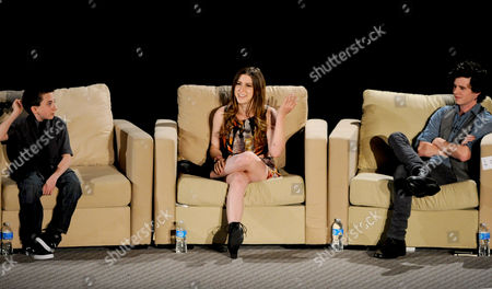 """MARCH 26: (L-R) Actors Atticus Shaffer, Eden Sher and Charlie McDermott participate in the Academy of Television Arts & Sciences Presents an Evening with """"The Middle"""" panel on in North Hollywood, California"""