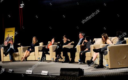 """MARCH 26: (L-R) Moderator Tanner Stransky, creators/executive producers DeAnn Heline and Eileen Heisler and actors Patricia Heaton, Neil Flynn, Atticus Shaffer, Eden Sher and Charlie McDermott participate in the Academy of Television Arts & Sciences Presents an Evening with """"The Middle"""" panel on in North Hollywood, California"""