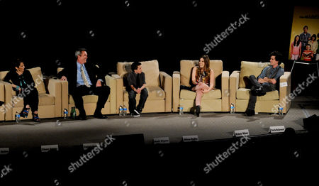 """MARCH 26: (L-R) Actors Patricia Heaton, Neil Flynn, Atticus Shaffer, Eden Sher and Charlie McDermott participate in the Academy of Television Arts & Sciences Presents an Evening with """"The Middle"""" panel on in North Hollywood, California"""