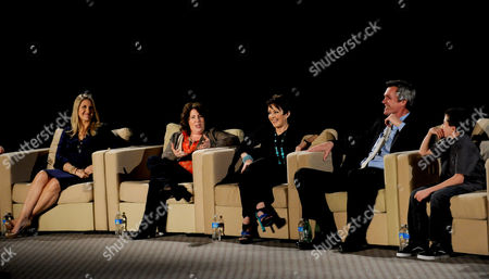 """MARCH 26: (L-R) Creators/executive producers DeAnn Heline and Eileen Heisler and actors Patricia Heaton, Neil Flynn and Atticus Shaffer participate in the Academy of Television Arts & Sciences Presents an Evening with """"The Middle"""" panel on in North Hollywood, California"""