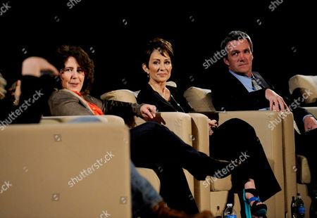 """MARCH 26: (L-R) Creator/executive producer Eileen Heisler and actors Patricia Heaton and Neil Flynn participate in the Academy of Television Arts & Sciences Presents an Evening with """"The Middle"""" panel on in North Hollywood, California"""