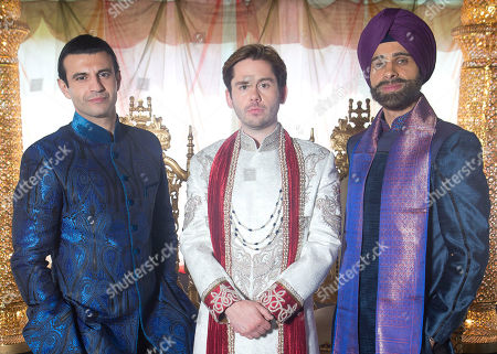 """Sam Vincenti, from left to right, Martin Delaney and Rez Kempton, who play the three main characters â?"""" Akbar, Amar and Tony- pose for photographs during filming on the set of Amar Akbar & Tony, an independent British Asian production by writer and director Atul Malhotra, at Newlands Manor in Buckinghamshire"""