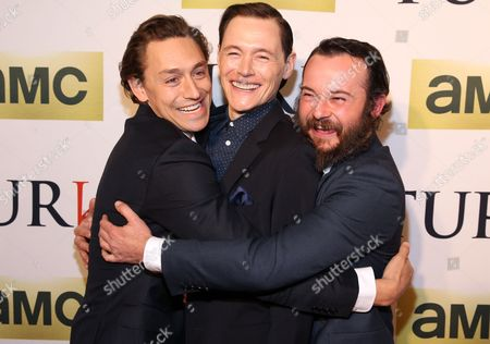 Actors, left to right, JJ Feild, Burn Gorman and Daniel Henshall attend the premiere of AMC's new series TURN at The National Archives on in Washington, DC