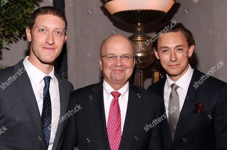 Actors Samuel Roukin, left, and JJ Feild, right, pose for a photo with U.S. Air Force four-star general (Ret.) and former Director of the CIA Michael Hayden at the premiere of AMC's new series TURN at The National Archives on in Washington, DC