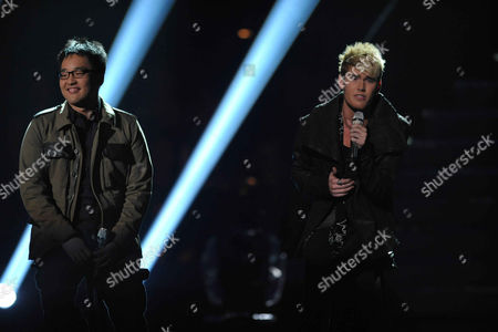 Heejun Han, left, and Colton Dixon perform onstage at the American Idol Finale on in Los Angeles
