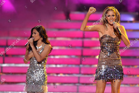 Jessica Sanchez, left, and Shannon Magrane perform onstage at the American Idol Finale on in Los Angeles