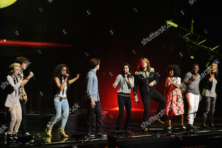 MK Nobilette, Alex Preston, Malaya Watson, Sam Woolf, Jena Irene Asciutto, Caleb Johnson, Majesty Rose Jessica Meuse and C.J. Harris perform during American Idols Live! 2014 at the Broward Center for the Performing Arts on in Ft Lauderdale, Florida. (Photo by
