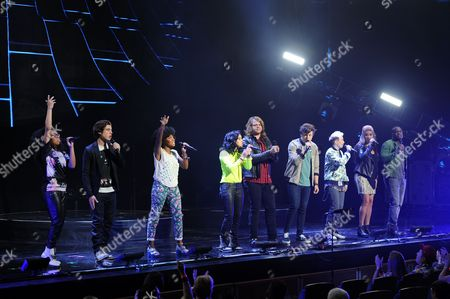 EXCLUSIVE IMAGE Malaya Watson, Sam Woolf, Majesty Rose, Jenna Irene, Caleb Johnson, Alex Preston, MK Nobilette, Jessica Meuse and C.J. Harris perform during American Idols Live! 2014 at the Broward Center for the Performing Arts on in Ft Lauderdale, Florida. (Photo by