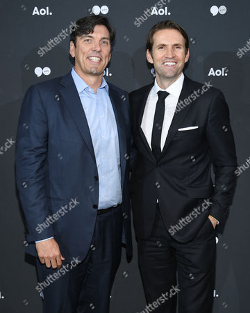 AOL CEO, Tim Armstrong, left, and EVP/President, AOL Content & Consumer Brands, Jimmy Maymann, attend the AOL NewFront at the South Street Seaport, in New York