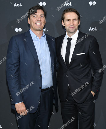 AOL CEO Tim Armstrong, left, and EVP/President, AOL Content & Consumer Brands Jimmy Maymann attend the AOL NewFront at the South Street Seaport, in New York
