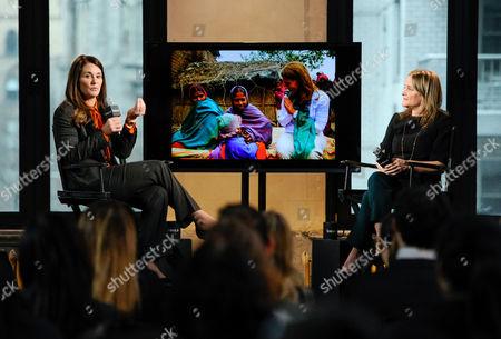Philanthropist Melinda Gates, left, speaks with moderator Dyllan McGee at AOL's BUILD Speaker Series at AOL Studios, in New York