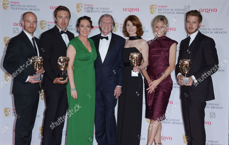 Olivia Colman,David Bradley,Jodie Whittaker, Simone McAullay centre and the cast of Broadchurch at the Arqiva BAFTA Television Awards at The Theatre Royal in London on