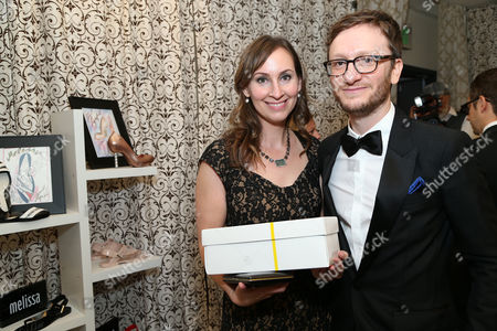 Liz Cackowski, left, and Akiva Schaffer at the Backstage Creations Giving Suite benefiting the Television Academy Foundation Educational Programs at the 67th Primetime Emmy Awards at the Microsoft Theatre L.A. Live, in Los Angeles