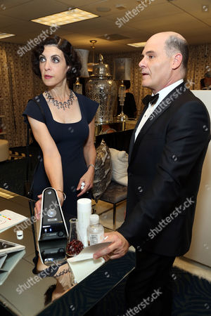 Matthew Weiner, right, and Linda Brettler in Backstage Creations Giving Suites at the 67th Primetime Emmy Awards at the Microsoft Theatre L.A. Live, in Los Angeles