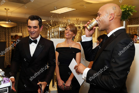 Stock Image of Actors Ty Burrell and Keegan-Michael Key at the Backstage Creations Giving Suite benefiting the Television Academy Foundation Educational Programs at the 67th Primetime Emmy Awards at the Microsoft Theatre L.A. Live, in Los Angeles