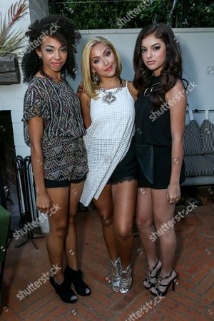 Stock Image of Sweet Suspense, from left, Summer Reign, Millie Thrasher, and Bryana Salaz attend the BCBGeneration Summer Solstice Party at Gracias Madre on in Los Angeles