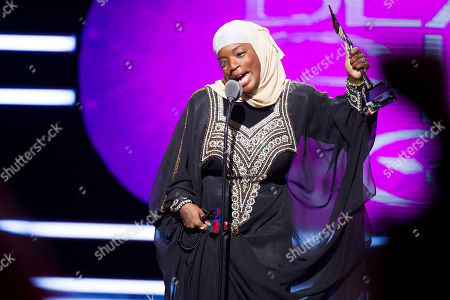 Stock Image of Ameena Matthews accepts the Community Activist Award at BET Networks' Black Girls Rock! on in Newark, N.J