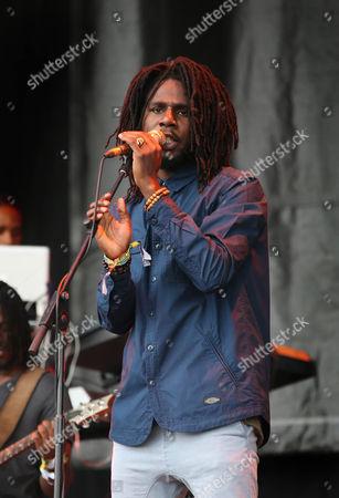 Jamaican reggae artist Jamar McNaughton Jr, popularly known as Chronixx, performs at Glastonbury Music Festival on at Worthy Farm, Glastonbury, England