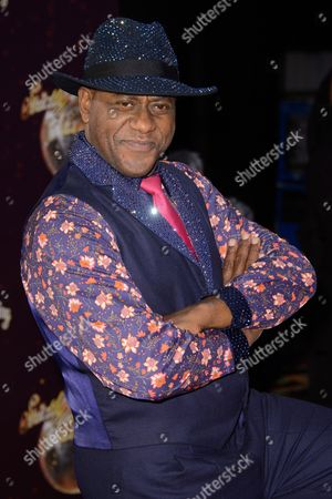 Ainsley Harriot poses for photographers at the Strictly Come Dancing 2015 launch event at Elstree Film Studios, London