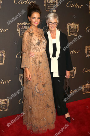 Katie Holmes, left, and her mother Kathleen Holmes attend the Cartier Fifth Avenue Mansion grand reopening celebration, in New York