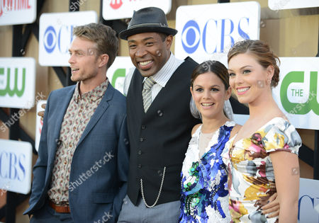 From left, Wilson Bethel, Cress Williams, Rachel Bilson and Kaitlyn Black arrive at the CBS, CW and Showtime TCA party at The Beverly Hilton on in Beverly Hills, Calif