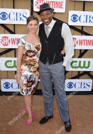 From left, Kaitlyn Black and Cress Williams arrive at the CBS, CW and Showtime TCA party at The Beverly Hilton on in Beverly Hills, Calif