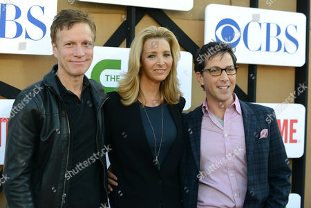 Stock Picture of From left, Dan Roos, Lisa Kudrow and Dan Bucatinsky arrive at the CBS, CW and Showtime TCA party at The Beverly Hilton on in Beverly Hills, Calif