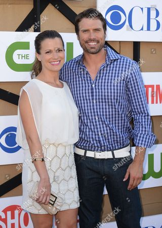 Stock Photo of From left, Melissa Claire Egan and Joshua Morrow arrive at the CBS, CW and Showtime TCA party at The Beverly Hilton on in Beverly Hills, Calif