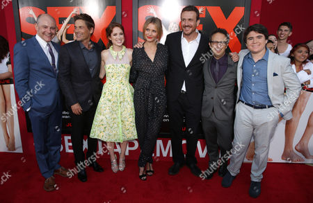 Rob Lowe, Cameron Diaz, Ellie Kemper, Rob Corddy, Screen Writer Jason Segel, Director/Screen writer Jake Kasdan and Harrison Holzer seen at Columbia Pictures 'Sex Tape' World Premiere held at Regency Village Theatre,, in Westwood, Calif