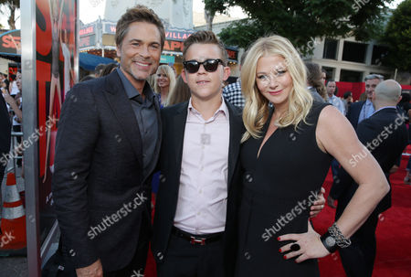 Rob Lowe, Matthew Edward Lowe and Sheryl Berkoff seen at Columbia Pictures 'Sex Tape' World Premiere held at Regency Village Theatre,, in Westwood, Calif