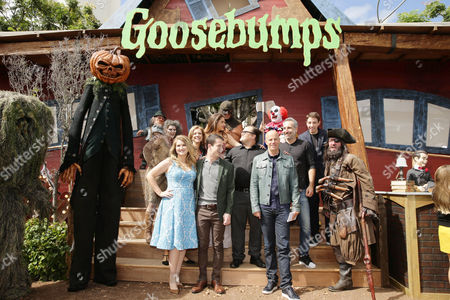Jillian Bell, Producer Deborah Forte, Odeya Rush, Dylan Minnette, Jack Black, Producer Neal H. Moritz, Director Rob Letterman and Ryan Lee seen at Columbia Pictures and Sony Pictures Animation World Premiere of 'Goosebumps' at Regency Village Theatre, in Westwood, CA