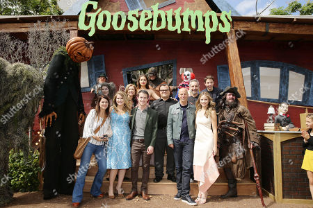Executive Producer Tania Landau, Jillian Bell, Producer Deborah Forte, Odeya Rush, Dylan Minnette, Jack Black, Producer Neal H. Moritz, Director Rob Letterman, Halston Sage and Ryan Lee seen at Columbia Pictures and Sony Pictures Animation World Premiere of 'Goosebumps' at Regency Village Theatre, in Westwood, CA