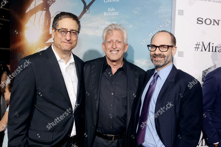 Tom Rothman, Chairman, Sony Pictures Motion Picture Group, Producer Joe Roth, and Doug Belgrad, President, Sony Pictures Motion Picture Group, seen at Columbia Pictures world premiere of 'Miracles from Heaven' at ArcLight Hollywood, in Hollywood, CA