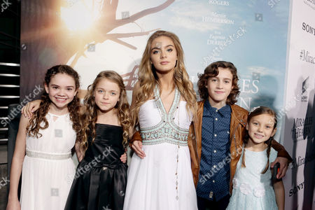 Hannah Alligood, Kylie Rogers, Brighton Sharbino, Brandon Spink and Courtney Fansler seen at Columbia Pictures world premiere of 'Miracles from Heaven' at ArcLight Hollywood, in Hollywood, CA