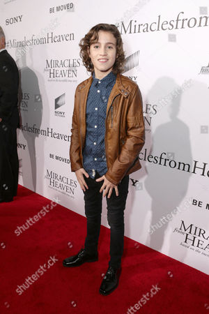 Brandon Spink seen at Columbia Pictures world premiere of 'Miracles from Heaven' at ArcLight Hollywood, in Hollywood, CA