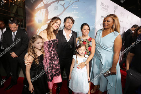 Stock Image of Kylie Rogers, Jennifer Garner, Martin Henderson, Courtney Fansler, Director Patricia Riggen and Queen Latifah seen at Columbia Pictures world premiere of 'Miracles from Heaven' at ArcLight Hollywood, in Hollywood, CA