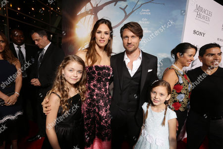 Kylie Rogers, Jennifer Garner, Martin Henderson and Courtney Fansler seen at Columbia Pictures world premiere of 'Miracles from Heaven' at ArcLight Hollywood, in Hollywood, CA