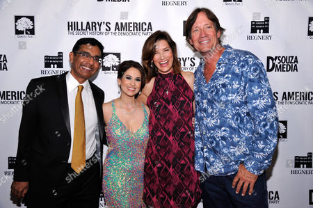"""Debbie D'Souza and Writer/Exec. Producer/Co-Director Dinesh D'Souza, Kevin Sorbo, Sandra Lynn Sorbo seen at D'Souza Media Premiere of """"Hillary's America"""", in Los Angeles, CA"""