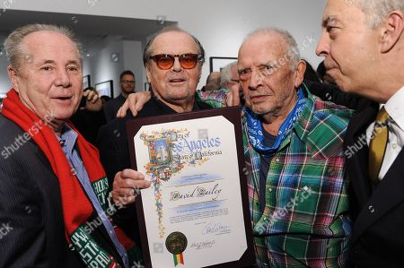 """From left, Tom LaBonge, Jack Nicholson, David Bailey, and Benedikt Taschen attend David Bailey's """"It's Just a Shot Away: The Rolling Stones In Photographs"""" Opening Reception, in Los Angeles"""