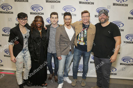 "Bex Taylor-Klaus, Kimberly Brooks, Jeremy Shada, Josh Keaton, Rhys Darby and Tyler Labine seen at DreamWorks Animation ""Voltron: Legendary Defender"" Wondercon Presentation at Los Angeles Convention Center, in Los Angeles, CA"