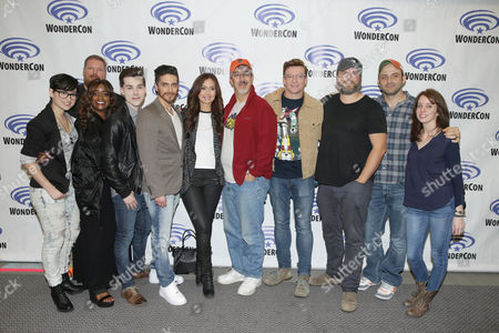 "Bex Taylor-Klaus, Writer Tim Hedrick, Kimberly Brooks, Jeremy Shada, Josh Keaton, Moderator Jessica Chobot, Neil Kaplan, Rhys Darby, Tyler Labine, Executive Producer Joaquim Dos Santos and Executive Producer Lauren Montgomery seen at DreamWorks Animation ""Voltron: Legendary Defender"" Wondercon Presentation at Los Angeles Convention Center, in Los Angeles, CA"